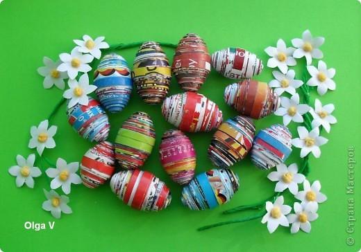 Готовимся к Пасхе. Очень понравились яйца из журнальных листов на корейском сайте http://blog.naver.com/paper6262 Только там подарочные яйца, в которых внутри конфетки.  Я решила сделать пасхальные яйца из журнальных и рекламных листов в корзинке.  фото 3