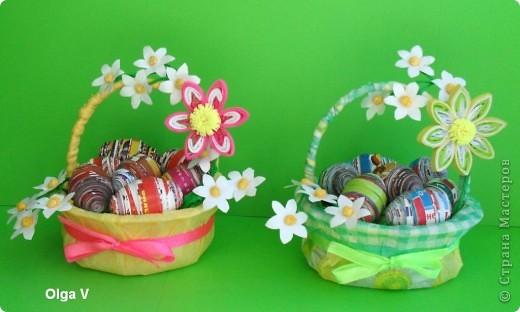 Готовимся к Пасхе. Очень понравились яйца из журнальных листов на корейском сайте http://blog.naver.com/paper6262 Только там подарочные яйца, в которых внутри конфетки.  Я решила сделать пасхальные яйца из журнальных и рекламных листов в корзинке.  фото 7