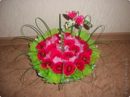 В выходные моя свекровь идет на юбилей к подруге. Сказала что живых цветов будет много, а вот таких букетов точно не будет. Купила корзиночку-зонтик и сделала букетик из 19 роз. Надеюсь все останутся довольны. фото 1