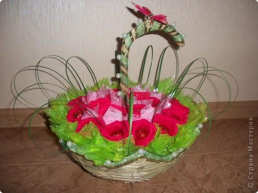 В выходные моя свекровь идет на юбилей к подруге. Сказала что живых цветов будет много, а вот таких букетов точно не будет. Купила корзиночку-зонтик и сделала букетик из 19 роз. Надеюсь все останутся довольны. фото 2