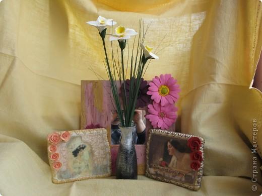 гипсовые миниатюры, букетик и зеркало. фото 1