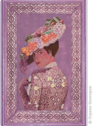 """СЕРИЯ """"Элегантная  Виктория"""" вышивка на равномерном канве окрашена в ручную, с использованием бисера, лент и металлических нитей. фото 2"""