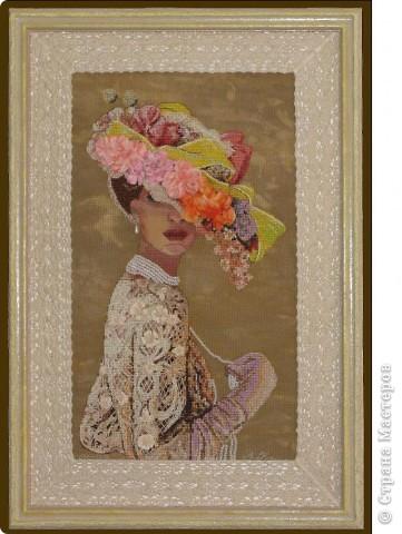 """СЕРИЯ """"Элегантная  Виктория"""" вышивка на равномерном канве окрашена в ручную, с использованием бисера, лент и металлических нитей. фото 1"""