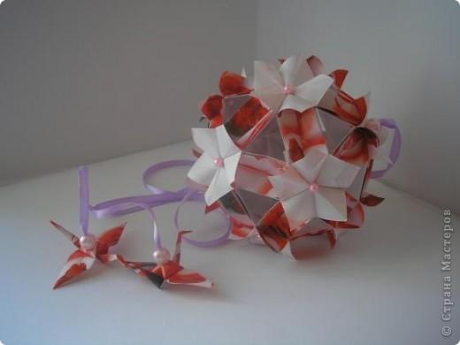"""Очеь мне понравилась кусудамка - весенняя и действительно похожана цвет вишни. Хто автор, я запуталась, вот и выставляю все, что нашла. Судить Вам. Кусудама """"Pretty ball"""" -  Автор: Анжелика Пасько Kusudama """"Flor de Cerejeira"""" - Автор:  Leroy´s Cherry Blossom  фото 3"""