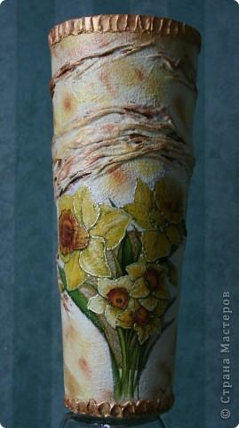 """Была простая прозрачная ваза на работе под сухоцветы. Давно на нее """"зуб точила"""" фото 1"""