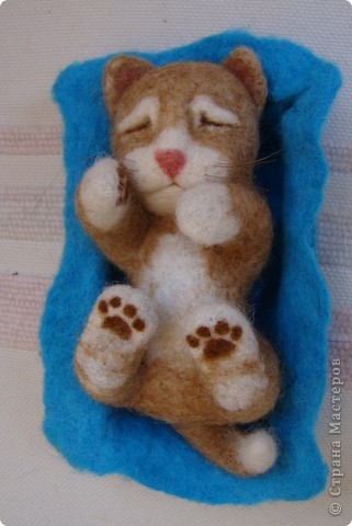 Спящий котенок. Валяние. фото 1