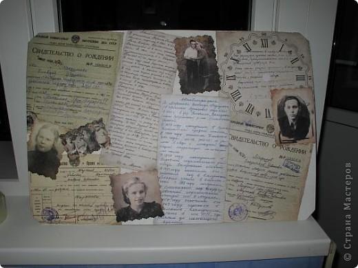 Нашла старую отцовскую папку с документами. Сокровища!!!Сначала хотела их все прямо на стенку в кухне наклеить(обои надо менять), но здравый смысл в лице моей старшей дочери победил. Вот, родились часы. фото 14