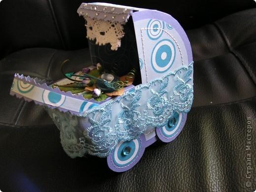 подарочная колясочка с золотоый булавочкой фото 2