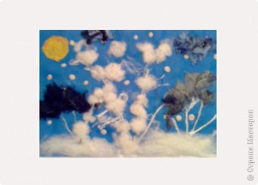 """""""Зимний вечер"""", Бледная Аля, 5 лет, А5, цветная бумага, нитки, вата, мех, пластилин, педагог Давыдова И.В. фото 5"""