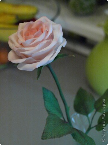 Вот такое было розовое настроене) Роза слеплена из холодного фарфора (самоварного) фото 2