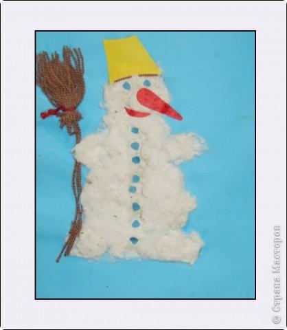 """""""Зимний вечер"""", Бледная Аля, 5 лет, А5, цветная бумага, нитки, вата, мех, пластилин, педагог Давыдова И.В. фото 3"""