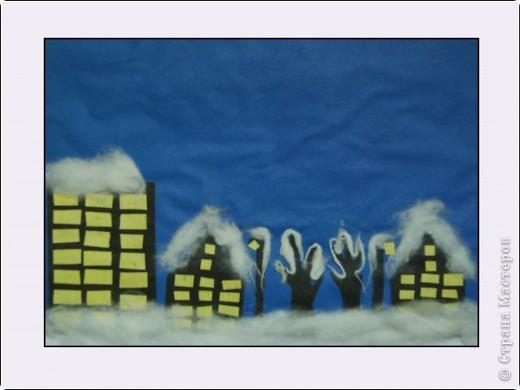 """""""Зимний вечер"""", Бледная Аля, 5 лет, А5, цветная бумага, нитки, вата, мех, пластилин, педагог Давыдова И.В. фото 2"""