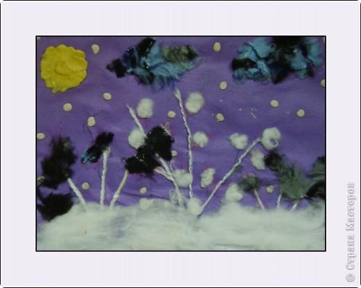 """""""Зимний вечер"""", Бледная Аля, 5 лет, А5, цветная бумага, нитки, вата, мех, пластилин, педагог Давыдова И.В. фото 1"""