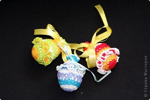 """Обвязанные крючком вареные яйца. Нитки """"Ирис"""".  (прошлгодние подарки) фото 2"""