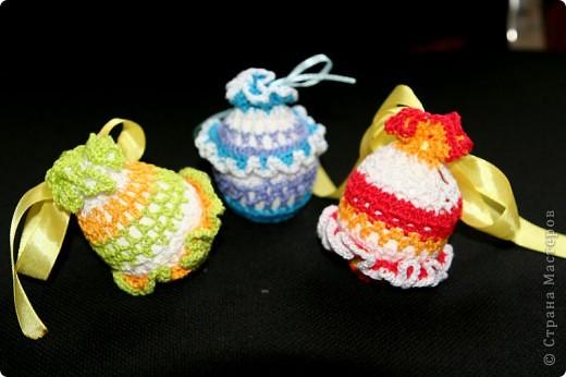 """Обвязанные крючком вареные яйца. Нитки """"Ирис"""".  (прошлгодние подарки) фото 1"""