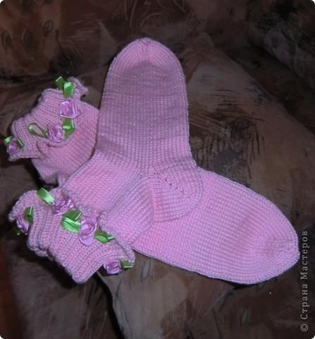 носочки с розочками для девочек.  фото 3