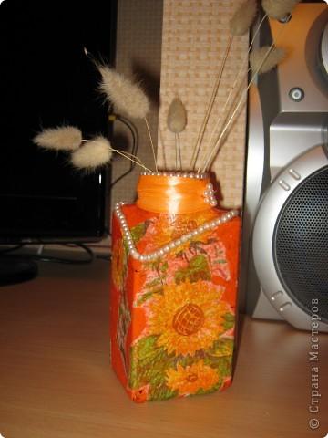 Моя самая первая вазочка в технике декупаж фото 1