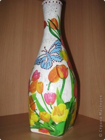 Моя самая первая вазочка в технике декупаж фото 5