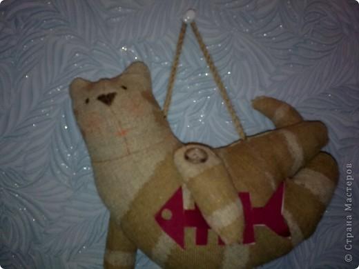 """Кот летящий (кукла """"Тильда""""). Сшит из мешковины, покрашен растворимым кофе - короче все, что плохо лежало! фото 1"""