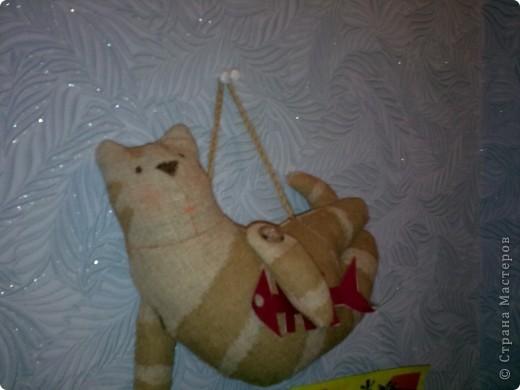 """Кот летящий (кукла """"Тильда""""). Сшит из мешковины, покрашен растворимым кофе - короче все, что плохо лежало! фото 2"""