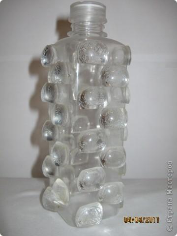 Зеркальную бутылочку я сделала, а теперь решила изготовить хрустальную. фото 1