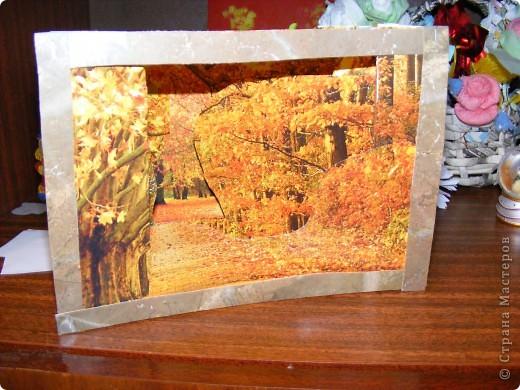 В прошлогоднем перекидном календаре нашелся очень красивый осенний пейзаж. Через 20 минут он стал объёмным фото 1