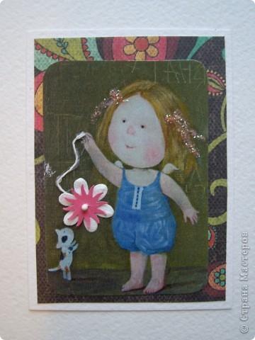 """У меня вчера был волшебный вечер подарков, но об этом я напишу в конце. Настроение было такое...такое...в общем словами не опишешь какое :) Поэтому проанонсированную серию АТС """"Письма счастья"""" я отложила и за ночь сделала другую """"Ангелы существуют!"""" Работа сделана на основе картин украинской художницы Евгении Гапчинской. Безумно люблю ее работы такие нежные и трогательные. За номером карточки следует название самой картины. Итак, все вместе и каждая в подробностях: фото 5"""