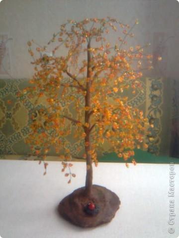 Поделка изделие Бисероплетение Дерево Осень золотая Бисер Гипс Проволока.
