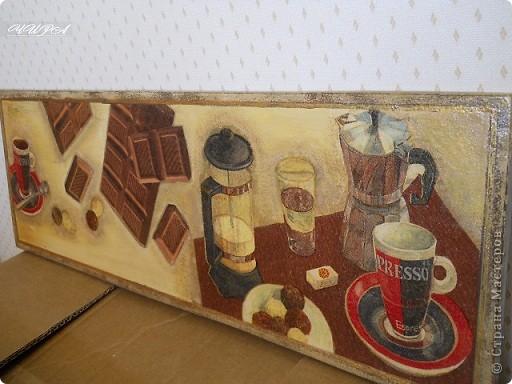 Панно Кофе-шоколад. В дальнейшем превратилось в вешалку. Прошу извинить за фон.Работа ушла,а другого фото не осталось. фото 1