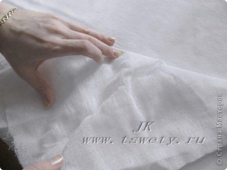 Мастер-класс цветы из ткани.   Белая роза без специальных инструментов.  Гофрированная. фото 15