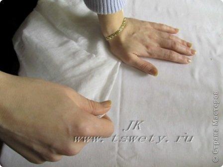 Мастер-класс цветы из ткани.   Белая роза без специальных инструментов.  Гофрированная. фото 16