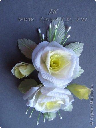 Мастер-класс цветы из ткани.   Белая роза без специальных инструментов.  Гофрированная. фото 34