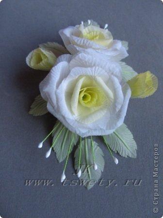 Мастер-класс цветы из ткани.   Белая роза без специальных инструментов.  Гофрированная. фото 35
