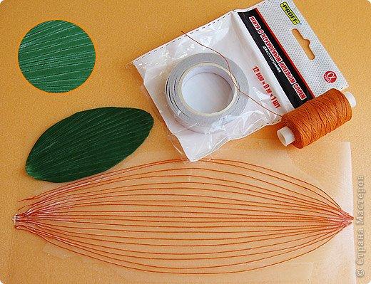 """Самодельный молд. Изготовление: на плотную пленку наклеиваем прозрачный двухсторонний скотч (под пленку подкладываем распечатку листика с прожилками) и на этот скотч приклеиваем нитки в нужном направлении, работа кропотливая но результат неплохой, нитки можно брать разной толщины и тогда фактура будет более естественной что-ли. После нужно этот """"молд"""" вскрыть несколько раз лаком чтобы скотч перестал липнуть (я 3 раза вскрыла). фото 1"""