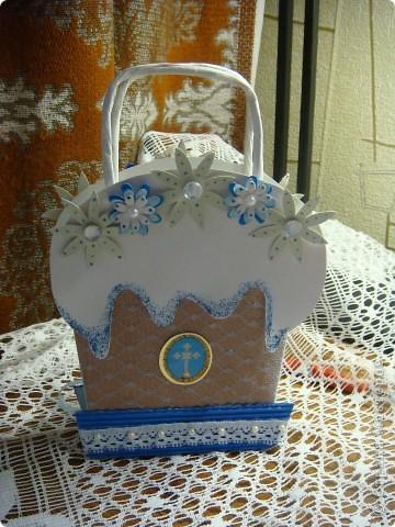 Пасхальный пакетик для открытки в виде куличика, куличик-игольница, куличик-шкатулочка. фото 3