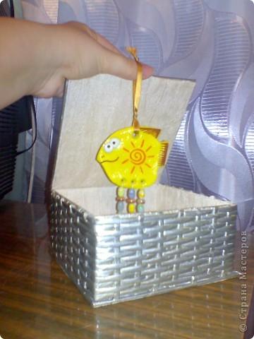 В подарок подруге сделала шкатулочку для украшений и рыбку для ее желто-оранжевой кухни!  фото 1