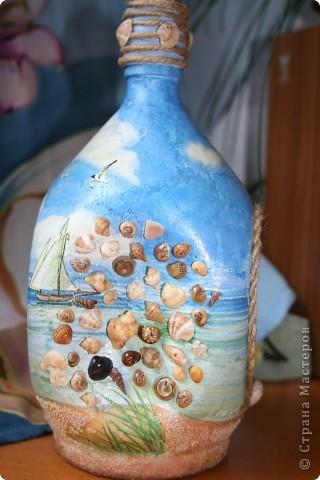 Вымученная бутылка-обратный и прямой декупаж, подрисовка, манка вместо песка...  фото 2