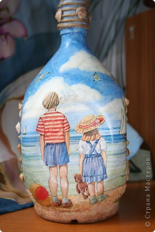 Вымученная бутылка-обратный и прямой декупаж, подрисовка, манка вместо песка...  фото 3