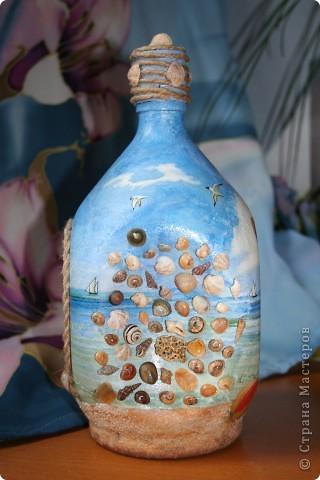 Вымученная бутылка-обратный и прямой декупаж, подрисовка, манка вместо песка...  фото 4