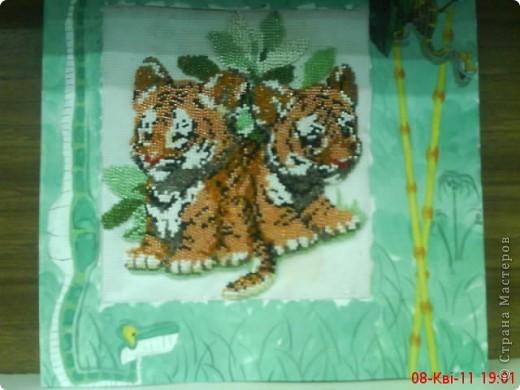 Тигрята из бисера, и рамку тоже сама делала и рисовала (гуашь)