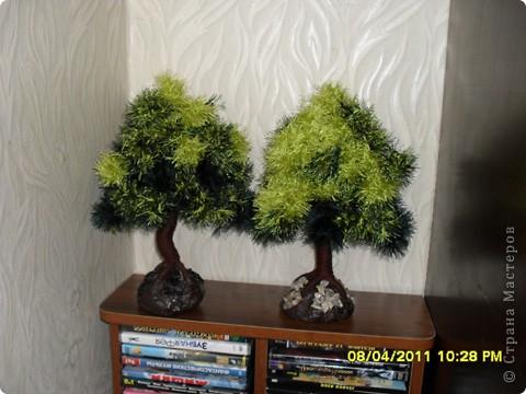 """Очень понравилось мастерить дерево из пряжи """"травка"""" и вот, что получилось. фото 3"""