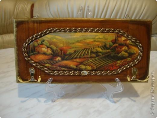 """Панно-ключница """"Маковые поля"""".Использовала деревянную заготовку-фасад мебельный.Морилка на водной основе,салфетка,патина,золотая краска,лак-клей для декупажа,водный лак,шнур,стразы и крючки,кракелюр двухшаговый. фото 1"""