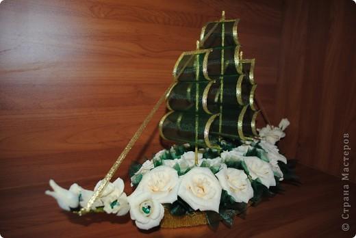 Долго искала в продаже органзу нужного оттенка, хотелось вот такой цветочный корабль попробовать сделать. Результатом довольна.  фото 1