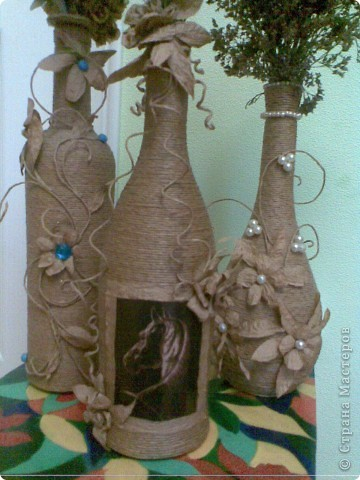 Декорирование бутылок шпагатом своими руками