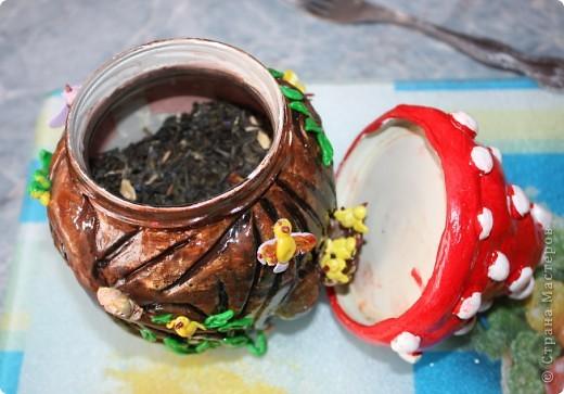Вот в порыве энтузиазма украсила банку (банка от кабачковой икры) в которой держу чай. фото 3