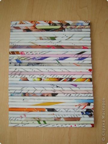 Картина панно рисунок Декупаж Панно из газетных трубочек Бумага газетная Краска Салфетки фото 2
