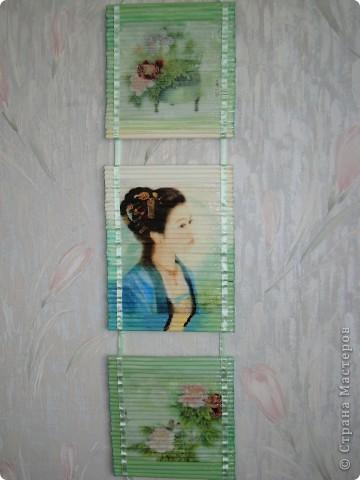 Картина панно рисунок Декупаж Панно из газетных трубочек Бумага газетная Краска Салфетки фото 1