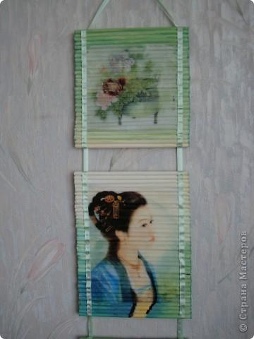 Картина панно рисунок Декупаж Панно из газетных трубочек Бумага газетная Краска Салфетки фото 8