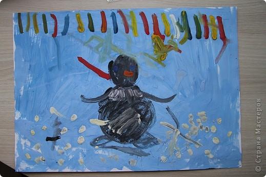 """Здравствуйте! Наконец-то появилось у меня немного свободного времени разместить работы своих детишек.  Это первый рисунок моего сына. Называется """"Северное сияние"""". фото 1"""