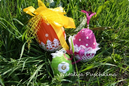 Пасхальные яйца вязаные крючком фото 1